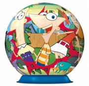 Disney Phineas and Ferb 108 Pc Ball Jigsaw Puzzle Game