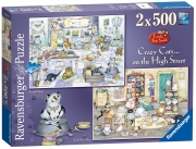 Ravensburger Crazy Cats on The High Street 2x500 Piece Jigsaw Puzzle Game