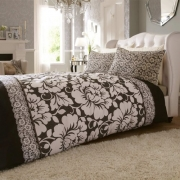 Catherine Lansfield Victoriana Black Half Set Bedding Super King Duvet Cover