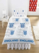 England Multi Crest White Fc Football Rotary Official Single Bed Duvet Quilt Cover Set