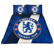 Chelsea Fc Stripe Football Panel Official Double Bed Duvet Quilt Cover Set