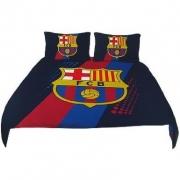 Barcelona Fc Stripe Football Panel Official Double Bed Duvet Quilt Cover Set