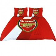 Arsenal Fc Stripe Football Panel Official Double Bed Duvet Quilt Cover Set