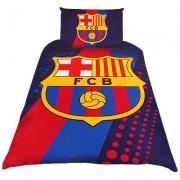 Barcelona Fc Stripe Crest Football Panel Official Single Bed Duvet Quilt Cover Set