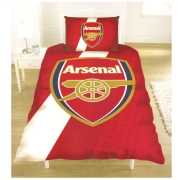 Arsenal Fc Stripe Football Panel Official Single Bed Duvet Quilt Cover Set
