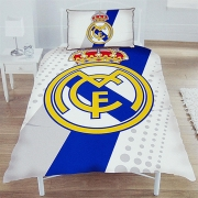 Real Madrid Fc Stripe Crest Football Panel Official Single Bed Duvet Quilt Cover Set