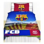 Barcelona Stadium Fc Football Panel Official Single Bed Duvet Quilt Cover Set