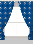 Chelsea Fc Football Repeat Crest Official 72 inch Curtain Pair