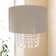 Easy Fit Chandelier 'Taupe' Hanging Crystals 30cm Pendant Shade Lighting