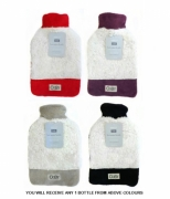 Country Club Laxurious 'Sherpa Fleece Cosy' Red, Black, Purple, Beige Assorted Hot Water Bottle