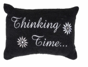 Black 'Thinking Time' Embellished Pillow Bath