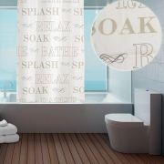 'Soak Splash Relax' with Hook Shower Curtain