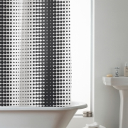 'Halftone' White Black Hookless Without Hook Shower Curtain