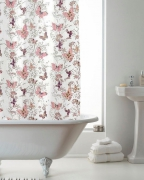 Butterfly Pink with Hook Shower Curtain