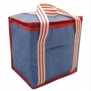 Alfresco Denim Striped Insulated Large Cooler Bag 12l Lunch Box