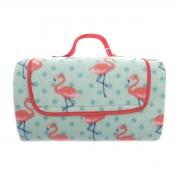 Al Fresco Waterproof Picnic Flamingo Rotary Fleece Blanket Throw