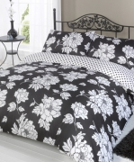Peony Black Half Set Bedding Super King Duvet Cover