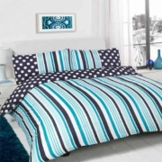 Suger Stripe Navy Half Set Bedding Super King Duvet Cover