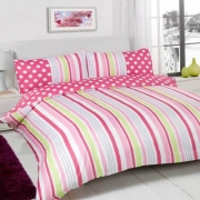 Suger Stripe Pink Half Set Bedding Super King Duvet Cover