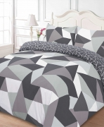 Shapes 'Black' Reversible Rotary Single Bed Duvet Quilt Cover Set