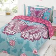 Butterfly 'Blue Multi' Reversible Panel Single Bed Duvet Quilt Cover Set