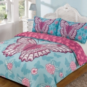Butterfly 'Blue Multi' Reversible Panel Double Bed Duvet Quilt Cover Set