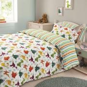 Dinosaur 'Multi' Reversible Rotary Double Bed Duvet Quilt Cover Set