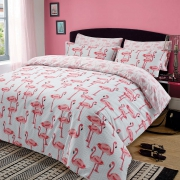 Flamingo 'Pink' Reversible Rotary Single Bed Duvet Quilt Cover Set
