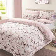 Marble 'Pink' Reversible Rotary Single Bed Duvet Quilt Cover Set