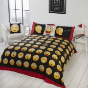 Emotions Emoticons 'Icons' Multi Reversible Rotary King Bed Duvet Quilt Cover Set