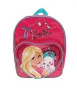 Barbie 'Heart Shaped Pvc Front Pocket' School Bag Rucksack Backpack