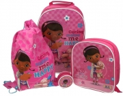 Disney Doc Mcstuffins 4pc Set Include Wallet Backpack Trainer Bag Wheeled