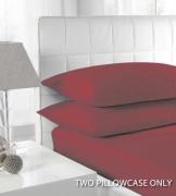 Percale Burgundy 2 Pk Bedding Pillow Case Set