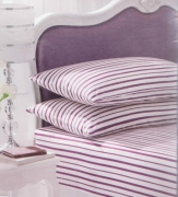 Stripe White/purple Fitted Sheet Bedding Single Bed Set
