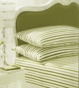 Stripe White/green Fitted Sheet Bedding King Bed Set