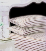 Stripe Cream/chocolate Fitted Sheet Bedding King Bed Set