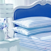 Stripe White/blue Fitted Sheet Bedding Single Bed Set