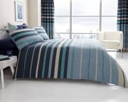 Block Stripes 'Blue' Double, King & Super King size Quilt Duvet Cover Sets