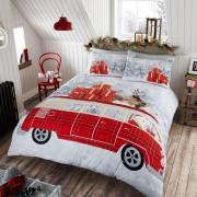 Santa'S Campervan ' Christmas' Panel Double Bed Duvet Quilt Cover Set