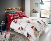 Merry Pugmas 'Christmas' Rotary Double Bed Duvet Quilt Cover Set