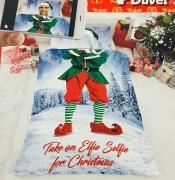 Take an Elfie Selfie For 'Christmas' Panel Single Bed Duvet Quilt Cover Set
