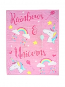 Luxury Kids Unicorn Pink Printed Panel Fleece Blanket Throw