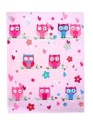 Luxury Kids Owl Pink Printed Rotary Fleece Blanket Throw