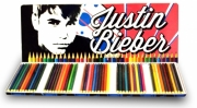 Justin Bieber 50 Piece Colouring Pencils Tin Case Stationery