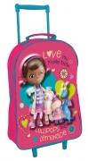 Disney Doc Mcstuffins 3d School Travel Trolley Roller Wheeled Bag