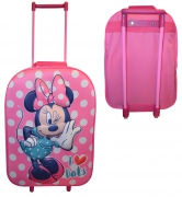 Disney Minnie Mouse 3d Large School Travel Trolley Roller Wheeled Bag