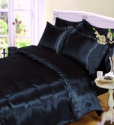 Satin Black Plain Bedding Double Duvet Cover Set