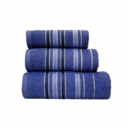 Towel Catherine Lansfield Java Stripe New Cols 450gsm Navy Hand