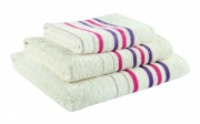 Towel Catherine Lansfield Java Stripe New Cols 450gsm Cream/ Plum Hand