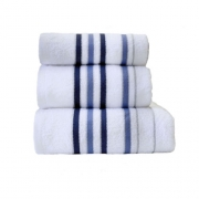 Towel Catherine Lansfield Java Stripe New Cols 450gsm White/ Navy Bath